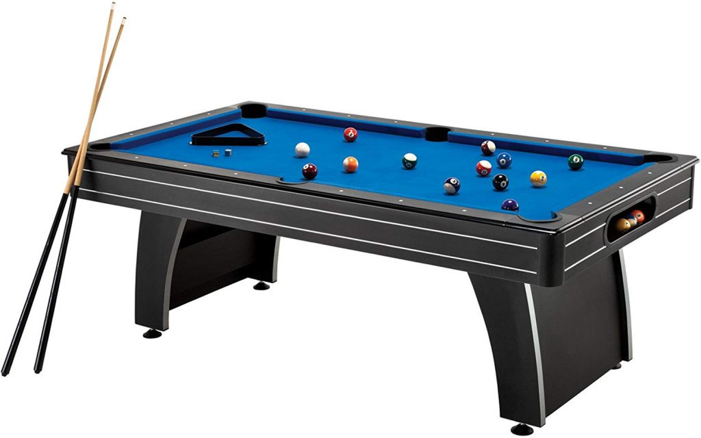 Fat Cat Tucson 7' Pool Table with Automatic Ball Return, Electric Blue Playing Surface and Included Billiard Accessories to Play Out of The Box.