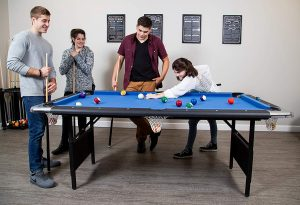Hathaway Fairmont Portable 6-Ft Pool Table for Families with Easy Folding for Storage, Includes Balls, Cues, Chalk.