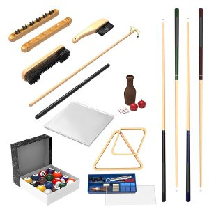 Trademark Gameroom Pool Table Accessory 32 Piece Kit-Billiards Balls, Cues, Stick Repair, Roman Rack, Table Brush, Table Cover, Tally Bottle