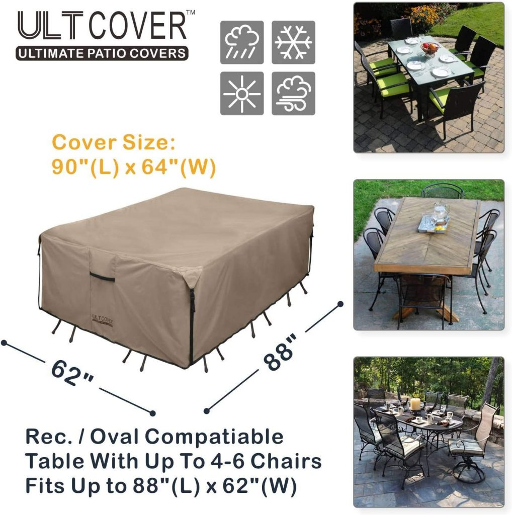 ULTCOVER Rectangular Patio Heavy Duty Table Cover - 600D Tough Canvas Waterproof Outdoor Dining Table and Chairs General Purpose Furniture Cover.