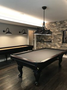 Olhausen Billiards 8 ft Blackhawk Pool Table – Two-Tone Black & Brandywine Finish – Includes Delivery & Installation, Cues, Balls and Accessories.